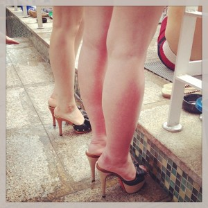 Korean women wear heels everywhere, even the pool